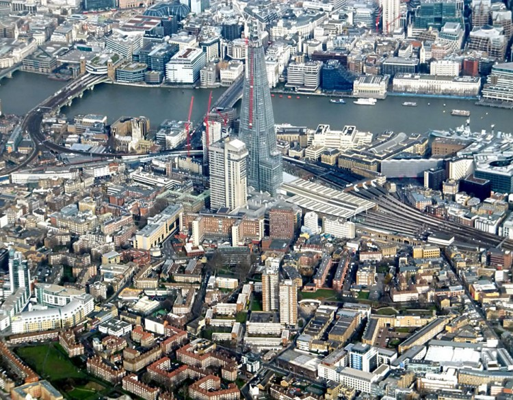 Arial view of The Shard and the River Thames in the background