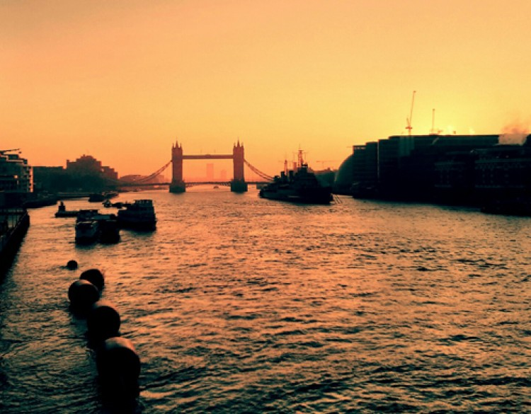 View of Tower Bridge at Sunset from the Embankment