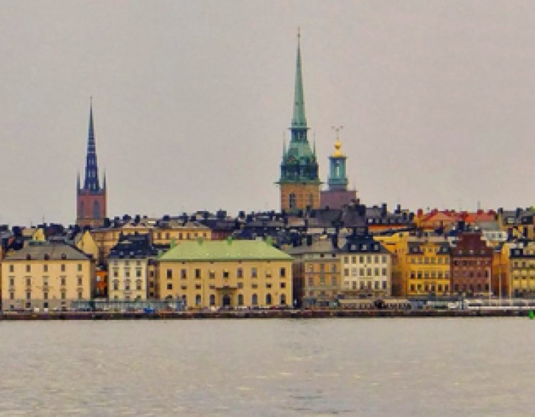 View of Stockholm scene from the water