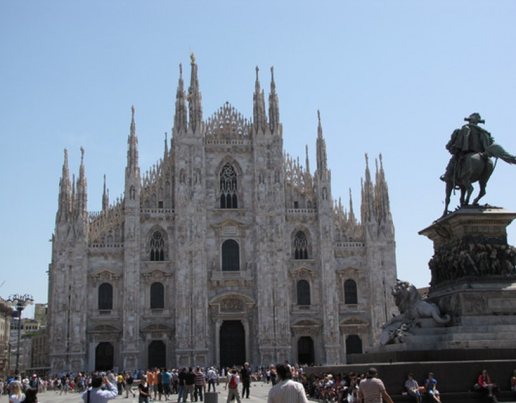 View of the front of Milan Cathedral, Italy