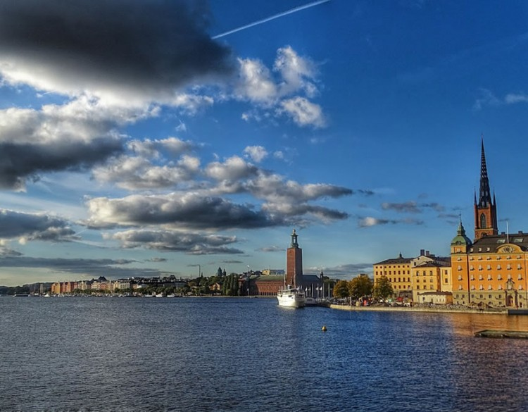 City View of Gorgeous Stockholm from the river bank