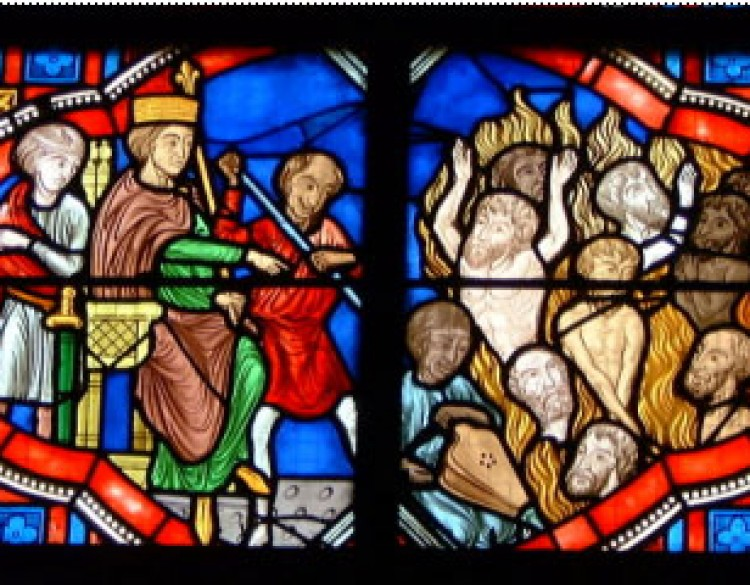View of Medieval Stained Glass Panels
